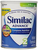 $102.92 Similac Advance Infant Formula with Iron, Stage 2 Powder, 1.93 Pounds Can, Pack of 4