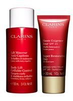 Free Travel-size Duos with your $75 Clarins Purchase. Valued up to $111