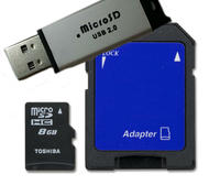 $5.99 Toshiba 8GB microSDHC Card with SD Adapter SD-C08G2T2TRT