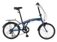 "$149.95 Vilano TEMPEST 20"" Folding Bike Shimano 6 Speed - Rear Rack & Fenders - Blue"