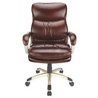 $64.99 Realspace® Broward Faux Leather High-Back Chair, Brown/Silver