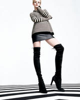 $588.75 Stuart Weitzman  Highland Stretchy Suede Over-the-Knee Boot, Black