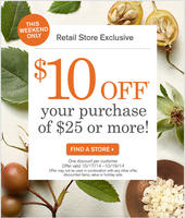 $10 OFF $25 In-Store Purchase @ Origins