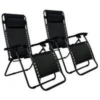 $64.99 Zero Gravity Chairs Case Of (2) Black Lounge Patio Chairs Outdoor Yard Beach O62