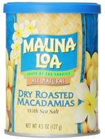 $4.64 Mauna Loa Macadamias, Dry Roasted with Sea Salt, 4.5 Ounce Container