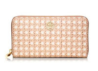 $99 Tory Burch Robinson PRINTED ZIP CONTINENTAL WALLET