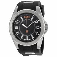 $59.99 Hugo Boss Orange Black Dial Black Rubber Mens Watch 1512807