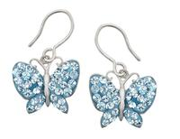 $19.00 Butterfly Earrings with Blue Swarovski Crystal in Sterling Silver