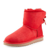 $112.00 UGG Australia	 Bailey Mini Striped-Bow Short Boot, Red