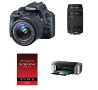 $499.00 Canon EOS Rebel SL1 DSLR w/ 18-55mm IS STM Lens + 75-300mm Lens + PIXMA PRO Printer