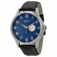 $89.95 Hugo Boss Blue Dial Black Leather Mens Watch 1512790