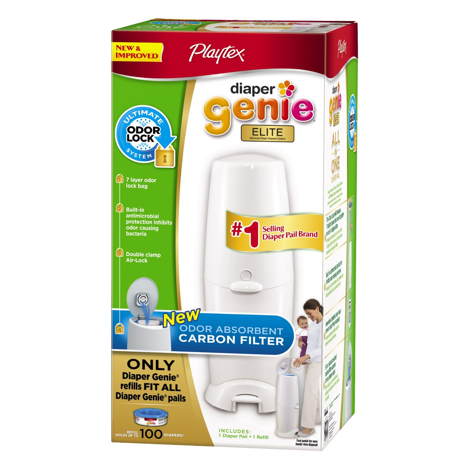 $26.47 Playtex Diaper Genie Elite Pail System with Odor Lock Carbon Filter, 100 Count