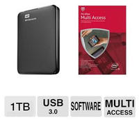 $19.99 After Rebate WD Elements 1TB Portable Drive and McAfee 2015 Multi Access 1 User 5 Devices MMD15E Bundle
