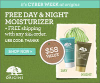 2 Free Day & Night Moisturizers Deluxe Samples + Free Pouch ($58 value)  with Any $35 Order @ Origins