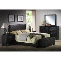 $129 + Free Shipping Ireland Queen Faux Leather Bed, Black