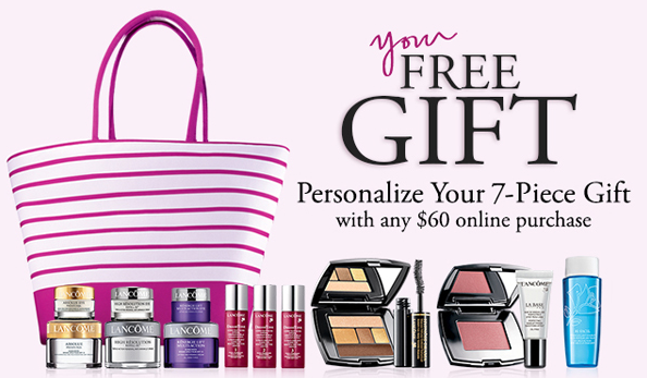 FREE 7 Piece Gift (Up to a $160 value) plus free standard shipping with any order of $60 and above! @ Lancome