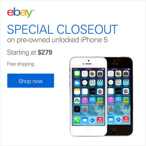 From $279 On Pre-Owned Unlocked iPhone 5 @ eBay