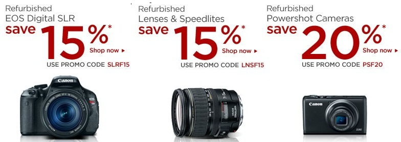 Canon Friends & Family Sale - 15% to 20% coupon on